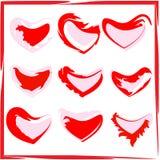 Un ensemble de coeurs peints Illustration Stock