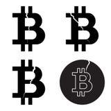 Un ensemble de cryptos symboles de bitcoin numérique avec une fente, style plat Image stock