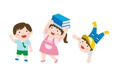 Un ensemble de dessin mignon d'enfants heureux Photographie stock