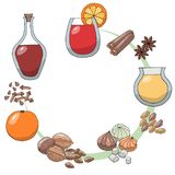 Un ensemble de dessins de croquis Ingrédients pour le gleg Gleg, orange, entrain, tranche de citron, noix de muscade, bâton de ca illustration libre de droits