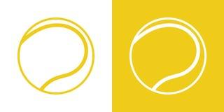 Un ensemble de deux options pour les icônes simples, découpe, boule pour le tennis Sur un fond blanc et jaune illustration libre de droits