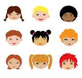 Un ensemble de différents visages de gosses Photos stock