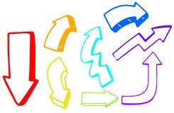 Un ensemble de direction colorée de flèche illustration libre de droits