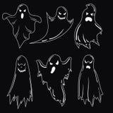 Un ensemble de fantômes pour Halloween Une collection de fantômes mystiques Spiritueux mauvais stylisés Vecteur noir et blanc Photo libre de droits