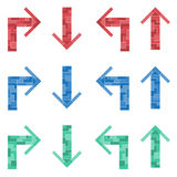 Un ensemble de flèches colorées Tetris Photographie stock libre de droits