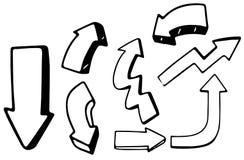 Un ensemble de flèches de griffonnage illustration stock