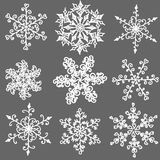 Un ensemble de flocon de neige noir et blanc tiré par la main Images stock