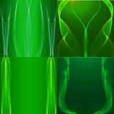 Un ensemble de fond vert abstrait du vecteur quatre Photos libres de droits