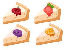Un ensemble de fromage de fruit durcit avec des fraises, des cerises, des raisins et l'orange illustration libre de droits