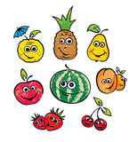 Un ensemble de fruits drôles Photo libre de droits