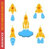 Un ensemble de fusées sur un thème de démarrage sur un fond blanc photos libres de droits