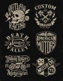 Un ensemble de graphique de moto de vintage de couleur Image libre de droits