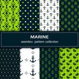 Un ensemble de huit peintures de tissu sans couture Thèmes marins dans des couleurs vertes, bleues et blanches illustration libre de droits