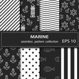 Un ensemble de huit peintures Thème nautique de tissu sans couture Combinaison de couleurs grise et rose illustration stock