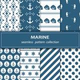 Un ensemble de huit peintures Tissu sans joint Thème nautique illustration stock