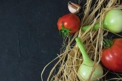 Un ensemble de légumes saisonniers sur le béton noir avec l'espace pour le texte Dans le style rustique Vue dessus L'espace pour  images stock