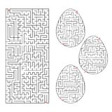 Un ensemble de labyrinthes sous forme d'oeufs et de forme rectangulaire Course noire Un jeu pour des enfants Illustration plate s Photo stock