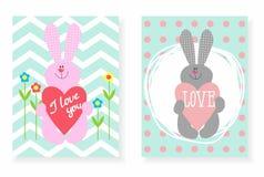 Un ensemble de lapin de cartes postales avec le coeur Illustration de Vecteur
