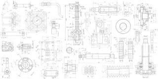 Un ensemble de machiner les pi?ces m?caniques Illustration d'ing?nierie de vecteur fond technique de dessin