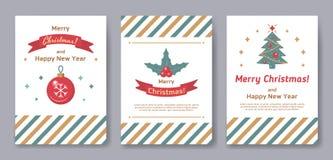Un ensemble de marché de Noël d'affiches ou de cartes postales illustration stock