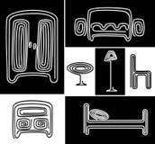 Un ensemble de meubles stylisés Images stock