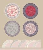 Un ensemble de modèles en cercle Figure pour des plats ou des soucoupes Moule épais remplissant dentelle linéaire d'imitation de  Images libres de droits