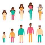 Un ensemble de personnes à la peau foncée, une génération Dirigez l'illustration dans le style simple sur le fond d'isolement par Images libres de droits
