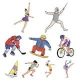 Un ensemble de photos au sujet des athlètes Icône olympique de sports dans la collection d'ensemble Photographie stock