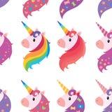 Un ensemble de portraits des licornes dans le style de bande dessinée Une collection de licornes colorées Animaux imitateurs Art illustration libre de droits