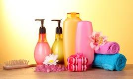 Un ensemble de produits de beauté de bain Photo libre de droits