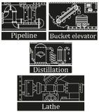 Un ensemble de quatre images d'une machine industrielle technologique Photo stock