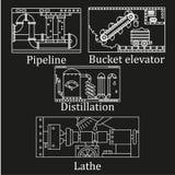 Un ensemble de quatre images d'une machine industrielle technologique Images stock