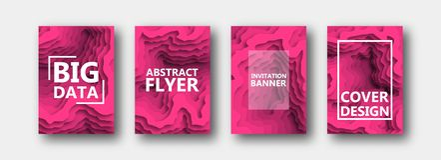 Un ensemble de quatre options pour des bannières, insectes, brochures, cartes, affiches pour votre conception, dans la couleur ro illustration de vecteur