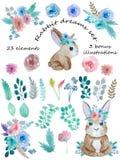 Un ensemble de rêve de lapin illustration stock