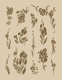 Un ensemble de silhouette d'isolement de végétation objecte sur un fond clair Photographie stock libre de droits