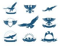 Un ensemble de silhouettes d'aigles Photos libres de droits