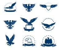Un ensemble de silhouettes d'aigles Photographie stock