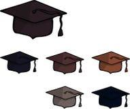 Un ensemble de six chapeaux scolaires carrés De nouveau à l'école Vecteur illustration libre de droits