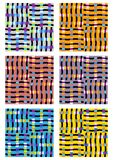 Un ensemble de six tuiles modernes dans différentes variantes de couleur Photos libres de droits