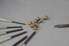 Un ensemble de tournevis et de dents Photographie stock libre de droits