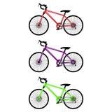 Un ensemble de trois bicyclettes Photo stock