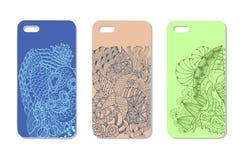 Un ensemble de trois cas de téléphone portable Fond de vecteur dans le zentangl Images libres de droits