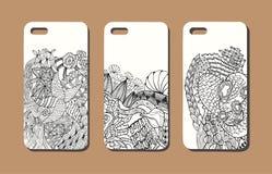 Un ensemble de trois cas de téléphone portable Fond de vecteur dans le zentangl Photo libre de droits