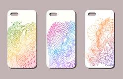 Un ensemble de trois cas de téléphone portable Fond de vecteur dans le zentangl Image libre de droits