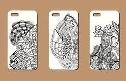 Un ensemble de trois cas de téléphone portable Fond de vecteur dans le zentangl Images stock