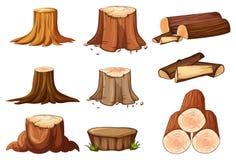Un ensemble de tronçon et de bois de construction d'arbre illustration stock