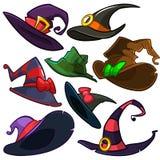 Un ensemble de vecteur de chapeaux de sorcière de Halloween Dirigez les icônes de chapeau de sorcière d'isolement sur le fond bla illustration stock