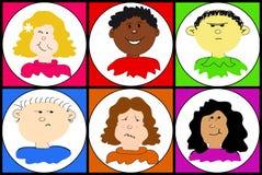 Un ensemble de visages Photo stock