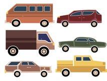 Un ensemble de voitures de bande dessinée Collection de vieilles voitures Camion transport Illustration de vecteur Photos stock