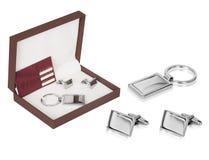 Un ensemble en acier de porte-clés de ruban simple et efficace images stock